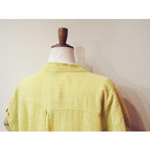 イタリア製 コットン半袖ストライプシャツワンピース レディース ノーカラー 黄色 イエロー 9号 11号 通販 ロングシャツ 派手|classica|07