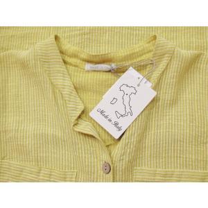 イタリア製 コットン半袖ストライプシャツワンピース レディース ノーカラー 黄色 イエロー 9号 11号 通販 ロングシャツ 派手|classica|08