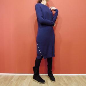 イタリア 裾ボタンニットワンピース レディース ネイビー 紺 9号 M シンプル 長袖 丸首 細身 タイト 通販 おしゃれ 婦人 無地 膝丈|classica