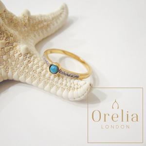 Orelia LONDON/オレリア ターコイズ×ジルコニアゴールドリング 指輪 レディース 女性用 16号 海外 ブランド 中指 おしゃれ 通販 ゴールド|classica