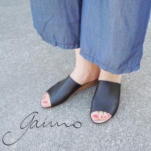 gaimo/ガイモ ウェッジソールミュールサンダル レディース 37 23cm 黒 ブラック ペタンコ 女性 スペイン製 おしゃれ NISSAN-JH|classica