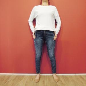 イタリア スキニ―デニムパンツ レディース 婦人 ジーンズ 9号 11号 ボーイフレンド ストレッチ 穿きやすい 通販 おしゃれ ボタンフライ|classica