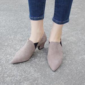 PUPE ポインテッドトゥサイドゴアブーティ38 24cm ベージュ スエード 本革 春 チャンキーヒール おしゃれ 人気 レディース 婦人靴|classica