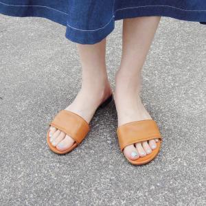 MARKO フラットレザーサンダル レディース 39 24.5cm 25cm キャメル 女性用 本革 靴 ペタンコ 通販 おしゃれ カジュアル 大人|classica
