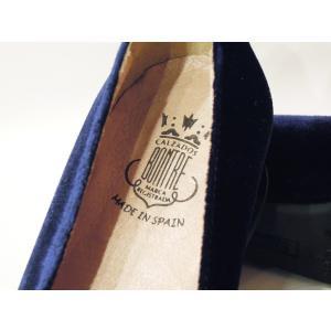 BONTREボントレ/ベロアチャンキーヒールローファーパンプス 38 24cm レディース ネイビー 紺色 ベルベット 上品 太ヒール スペイン製 きれいめ|classica|06