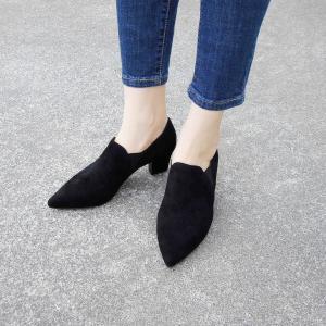 PUPE ポインテッドトゥサイドゴアブーティ39 24.5cm 黒 ブラック スエード 本革 春 チャンキーヒール おしゃれ 人気 レディース 婦人靴|classica