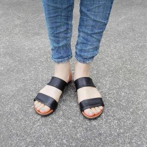 BARI フラットレザーサンダル レディース 36 23cm 黒 ブラック 靴 女性用 ペタンコ 本革 通販 おしゃれ ナチュラル|classica