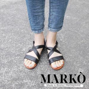 MARKO レザーフラットサンダル  レディース 黒 ブラック 36 37 23cm 24cm 通販 おしゃれ フラットヒール 本革 婦人 靴 クロスベルト|classica