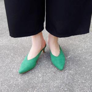 イタリア ポインテッドトゥミュール レディース グリーン 緑 39 24.5cm パンプス 春 夏 無地 通販 おしゃれ 大人 靴|classica