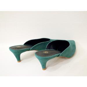 イタリア ポインテッドトゥミュール レディース グリーン 緑 39 24.5cm パンプス 春 夏 無地 通販 おしゃれ 大人 靴 classica 04