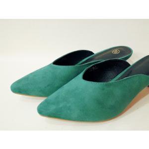 イタリア ポインテッドトゥミュール レディース グリーン 緑 39 24.5cm パンプス 春 夏 無地 通販 おしゃれ 大人 靴 classica 06