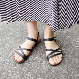 CALIDAD フラットサンダル レディース 37 23.5cm 黒 ブラック ペタンコ 通販 おしゃれ バックストラップ 合皮 婦人 女性 靴|classica