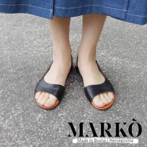 MARKO バックストラップ付きサンダル レディース ブラック 黒 37 38 24cm 24.5cm 通販 おしゃれ フラットソール 本革 ペタンコ|classica