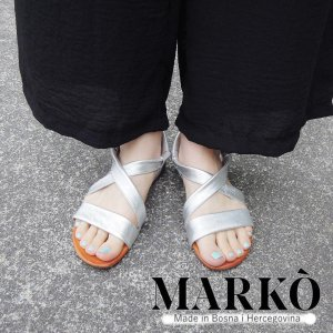 MARKO レザーフラットサンダル レディース 38 24.5cm シルバー クロスベルト メタリック 通販 おしゃれ 本革 フラットヒール 靴 婦人|classica