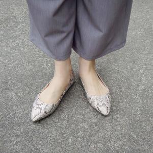 パイソン柄ポインテッドトゥフラットパンプス レディース 38 24cm 靴 女性用 アニマル ヘビ柄 通販 ベージュ 合皮 おしゃれ カジュアル 派手|classica