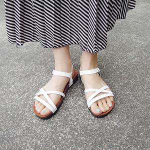 CALIDAD フラットサンダル レディース 38 24cm 白 ホワイト ペタンコ 通販 おしゃれ バックストラップ スペイン製 女性 婦人 靴|classica