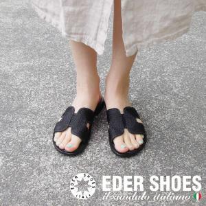 イタリア製 Eder フラットサンダル レディース 黒 ブラック 38 24cm 36 23cm エダー 本革 通販 おしゃれ 婦人靴 フラット シューズ|classica