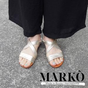 MARKO レザーフラットサンダル レディース 36 23 ゴールド クロスベルト メタリック 通販 おしゃれ 靴 婦人 本革 ペタンコ シンプル|classica