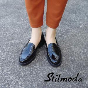 イタリア製 エナメル本革ローファー レディース 38 24cm 黒 ブラック フラットシューズ 靴 新品 通販 海外 ブランド 女性 おしゃれ Stilmoda|classica
