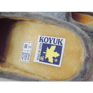 KOYUK ボアサンダル レディース 39 24.5cm グレー コユック ペタンコ 秋冬 新作 おしゃれ 靴 スペイン製 女性 婦人 あったか スリッパ classica 08