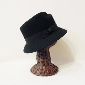 HATS&DREAMS/イタリア製フェルト中折れハット レディース 黒 ブラック リボン 帽子 インポート おしゃれ ツバ短め 上品 ウール 30代 40代 50代|classica