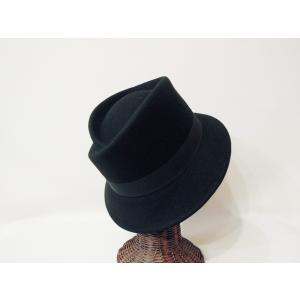 HATS&DREAMS/イタリア製フェルト中折れハット レディース 黒 ブラック リボン 帽子 インポート おしゃれ ツバ短め 上品 ウール 30代 40代 50代|classica|02