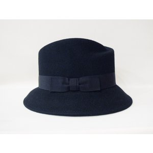 HATS&DREAMS/イタリア製フェルト中折れハット レディース 黒 ブラック リボン 帽子 インポート おしゃれ ツバ短め 上品 ウール 30代 40代 50代|classica|03