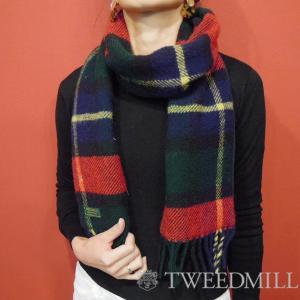 TWEEDMILL 裏フリースチェック柄ウールマフラー ツイードミル レディース 女性 ストール タータンチェック 通販 おしゃれ イギリス製|classica