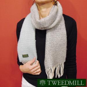 TWEEDMILL パネル配色ウールマフラー ツイードミル メンズ レディース グレー 無地 ストール 通販 おしゃれ イギリス製 プレゼント|classica