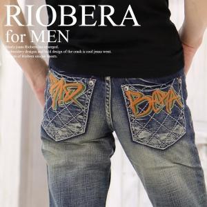 メンズ デザインジーンズ RIOBERA メンズ デニム ヴ...