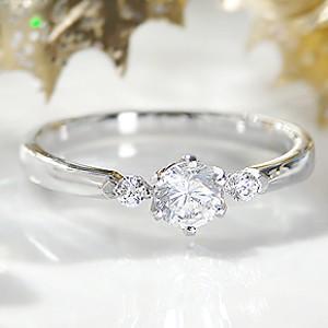一粒ダイヤモンド リング プラチナ 大粒ダイヤ 0.3カラット PT900