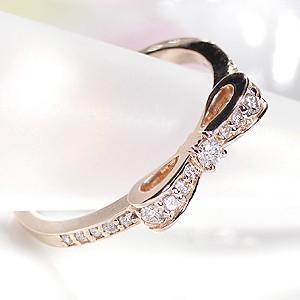 ダイヤモンド リボンリング ピンクゴールド ダイヤリング あすつく対応