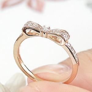 ダイヤモンド リボンリング ピンクゴールド ダイヤリング あすつく対応|classicchess|04