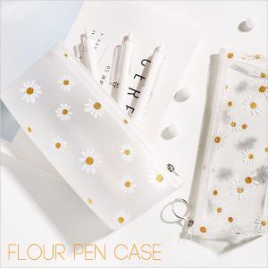 フラワー ペンケース クリア 花柄 おしゃれ 韓国 透明 シンプル 小さめ コンパクト かわいい 筆...