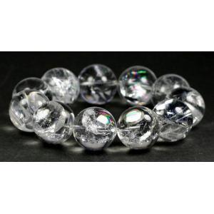 3Aブラジル産天然レインボー水晶18ミリ玉ブレスレット 【RAINBOWQUARTZ-1801】|clearstones