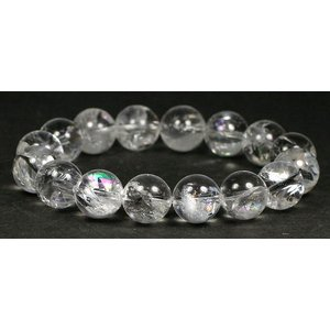 3Aブラジル産天然レインボー水晶12ミリ玉ブレスレット 【RAINBOWQUARTZ-3A1208】|clearstones