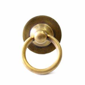 アンティーク調真鍮製つまみ 丸型 リング付き レトロ 古色 アンティーク調|cleebs