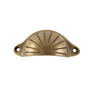 アンティーク調真鍮製半月型取っ手 ライン入り S|cleebs