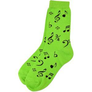 [在庫処分セール 50%off]  ネオンカラー 音符 譜面  靴下 SOCKS BLACK NOTES Sheet Music ON GREEN ORANGE YELLOW PINK - LADIES 9-12|clefgifts