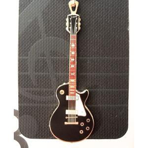 ギブソン レスポール ギター 黒 キーホルダー 携帯ストラップ ブローチ Gibson Les Pa...