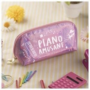 [在庫処分セール30%off]  Piano line  鍵盤 キーボード  ピアノアミュゾン ラウンドオーロラポーチ ピンク ピアノライン 20%引き|clefgifts