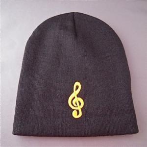 [在庫処分セール 50%off]  ビーニー ニット 帽子 ト音記号 黒 Clef Winter Hat - Black|clefgifts
