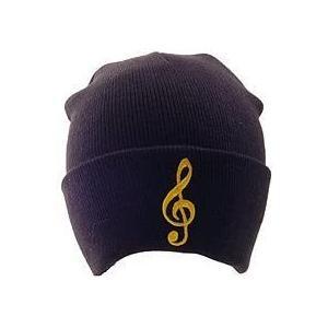 [在庫処分セール 50%off]  ビーニー帽子 ト音記号 黒 ピンク Clef Winter Hat - Black|clefgifts