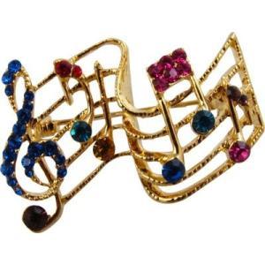 [在庫処分セール 50%off]  譜面 ブローチ ラインストーン  Music Staff Brooch - Rhinestones『ポーチ入り、送料無料』|clefgifts