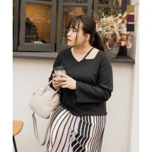 大きいサイズ レディース cletteオリジナル★デザインネックリブプルオーバー|clette-online