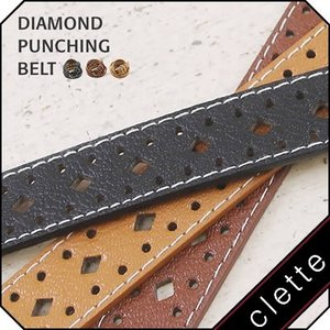 大きいサイズ レディース ダイヤ パンチング ベルト|clette-online