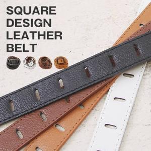 大きいサイズ レディース スクエア デザイン 合皮 ベルト|clette-online