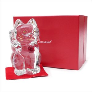 Baccarat(バカラ)  CRYSTAL 招き猫  CLEARxRED 290-004016-010x【新品】(グッズ)|cliffedge