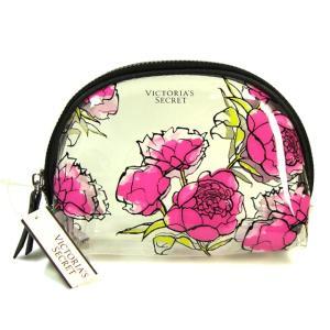 透明ピンク花柄の化粧ポーチ♪ ヴィクシーロゴが素敵なポーチ♪  (約)縦:12cm×横:17cm×マ...