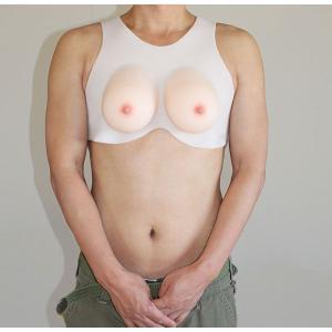 人工乳房 シリコンバスト シリコン 乳房 ノンフィルム ストラップ付 人工乳房 皮膚付き シリコンパット 女装  jh1400|clivia